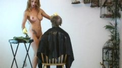 Nude Hairstylist Is Coloring Her Clients Hair