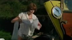 ENF Girl Stripped Nude By Vintage Car
