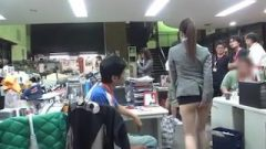 Thai In Too Short Dress ! Even Other Girls Are Groping Her Butt At Work !