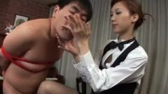 Nippon Chubby Man Receives Cmnf Handy And Eats Spunk From Hand